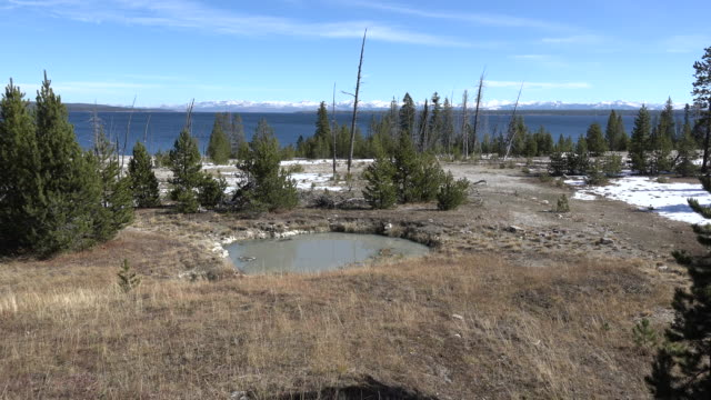vidéos et rushes de yellowstone pool at west thumb with lake in background - piscine thermale