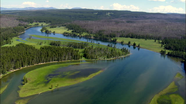 yellowstone river  - aerial view - wyoming,  park county,  helicopter filming,  aerial video,  cineflex,  establishing shot,  united states - river yellowstone stock videos & royalty-free footage