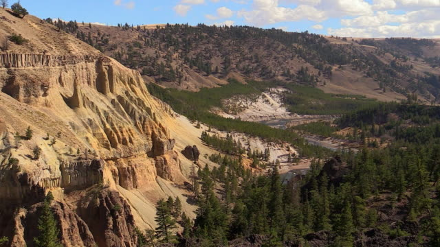 Yellowstone River and cliffs, zoom out, autumn in Yellowstone National Park