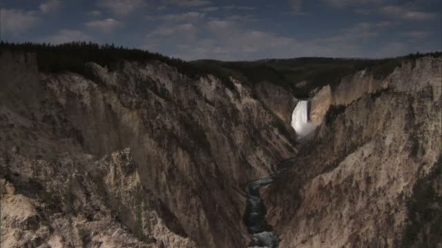 Yellowstone river flows through gorge under the Lower Falls, Yellowstone, USA