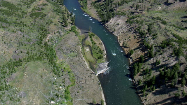 Yellowstone River In Canyon  - Aerial View - Wyoming,  Park County,  helicopter filming,  aerial video,  cineflex,  establishing shot,  United States