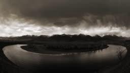 Yellowstone River Storm. Falling rain
