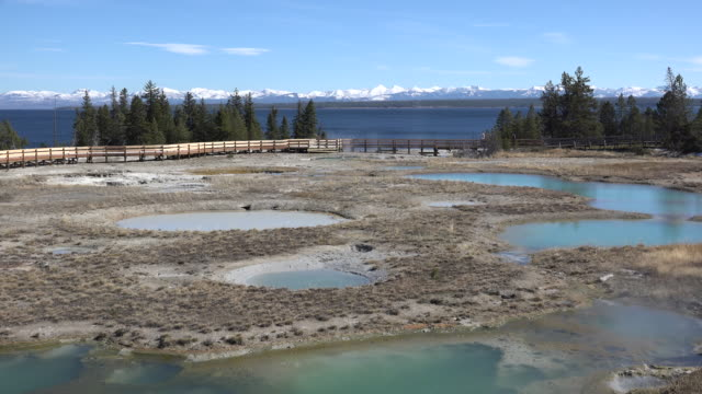 vidéos et rushes de yellowstone several hot pools at west thumb - piscine thermale