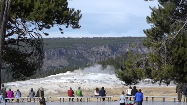 yellowstone tourists waiting for old faithful. - old faithful stock videos & royalty-free footage