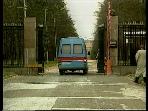 Yeltsin admitted to hospital ITN Van thru gates of hospital where Yeltsin is being treated for pneumonia Men seen thru railings Road into grounds of...
