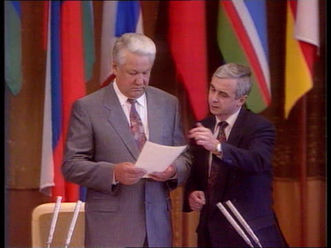 Yeltsin faces more political problems 1300 RUSSIAN FED Moscow MS Russian Pres Boris Yeltsin spking in Russian Parliament MS Delegates in Parliament...