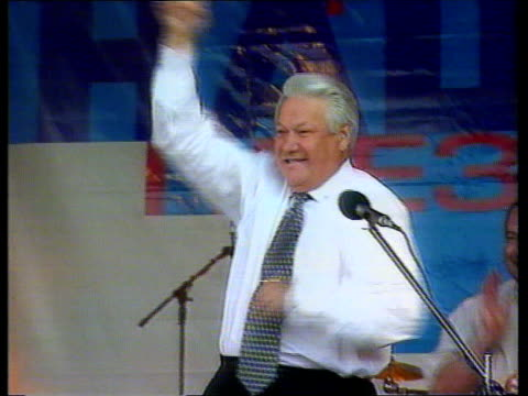 yeltsin health scare location unknown int cms yeltsin dancing to music with pop group itn - pop music stock-videos und b-roll-filmmaterial