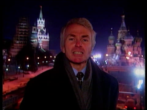 yeltsin resigns as president; moscow: night mark webster to camera sot - boris yeltsin stock videos & royalty-free footage