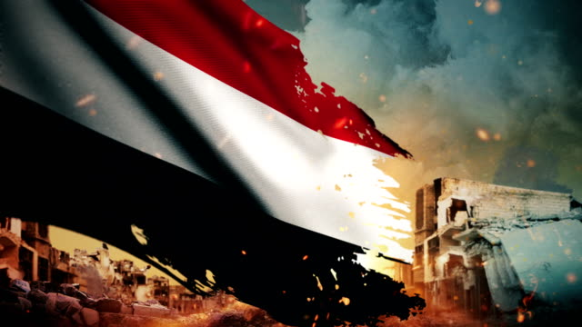 4k yemen flag - crisis / war / fire (loop) - yemen stock videos & royalty-free footage
