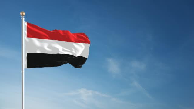 4k yemen flag - loopable - yemen stock videos & royalty-free footage