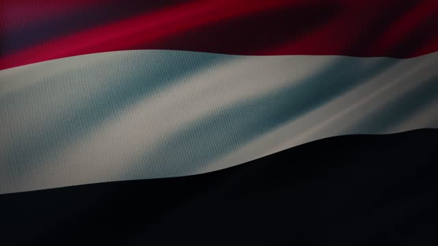 4k yemen flag waving in the wind with highly detailed fabric texture - aden stock videos & royalty-free footage