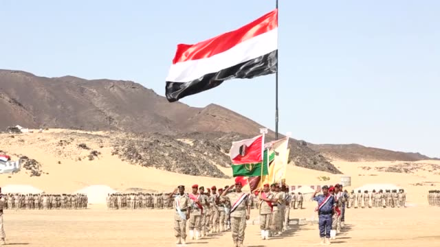 yemeni army chief of staff major general tahir al-aqili delivers a speech during a military ceremony marking the 55th anniversary of the september 26... - anniversary stock videos & royalty-free footage