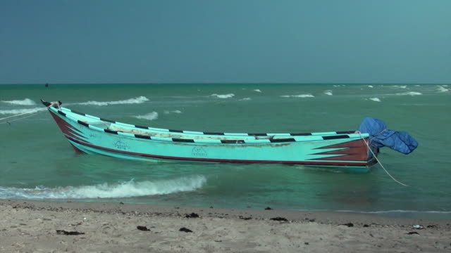 Yemeni fishing boat moored on Red Sea in Khokha