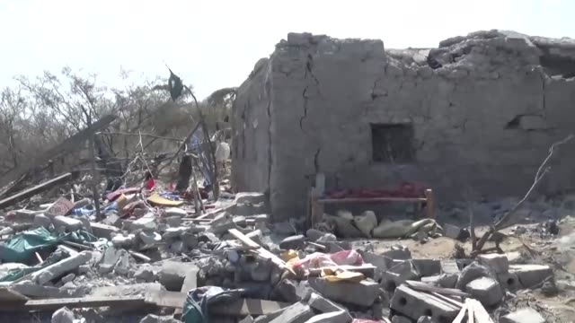 yemeni local officials announce that dozens of civilians have been killed and wounded in an air raid on a wedding party in yemen with huthi rebels... - air raid video stock e b–roll