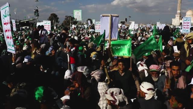 yemeni people celebrate the birthday of the islam's prophet muhammad on november 20 2018 in sana'a yemen - muhammad prophet stock videos & royalty-free footage