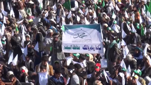 yemeni people take part in a gathering to commemorate the birthday of prophet muhammad on november 30 2017 in sana'a yemen - muhammad prophet stock videos & royalty-free footage