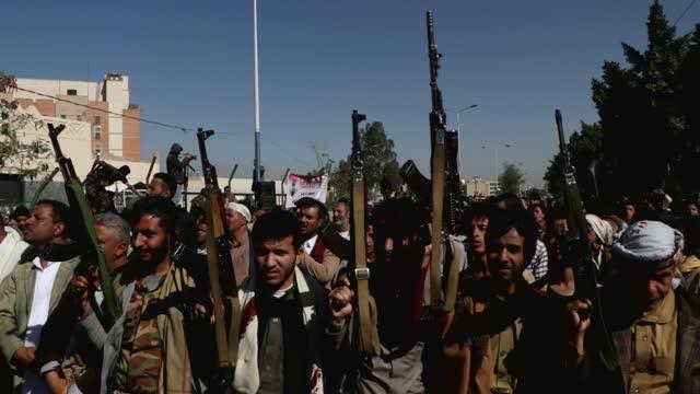 YEM: Yemen Houthi Supporters Protest At US Embassy