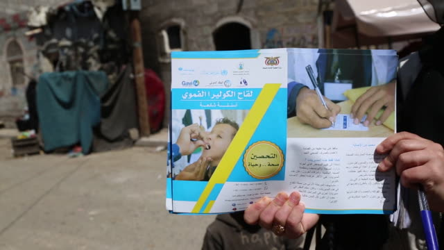 yemenis receive oral cholera vaccinations on september 19, 2019 in sana'a, yemen. yemen's local health authorities, with support from the world... - war stock-videos und b-roll-filmmaterial