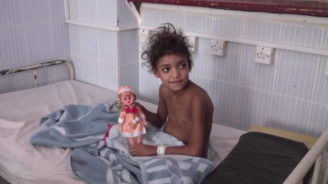 Yemenis received treatment at a hospital in Sanaa following a Diphtheria outbreak