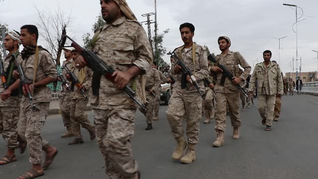 yemen's houthi military and security affiliates march as a rehearsal on the eve of the celebration of international quds day, on may 06, 2021 in... - yemen stock videos & royalty-free footage