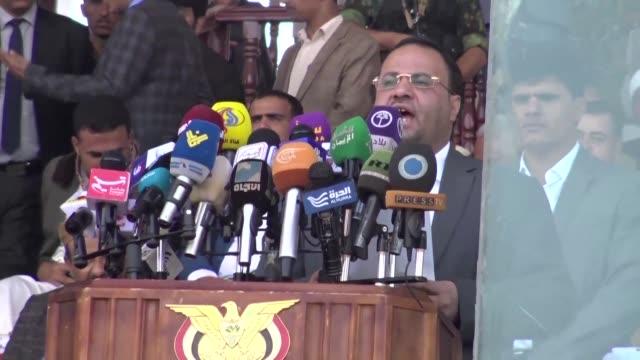 vídeos de stock, filmes e b-roll de yemen's huthi rebels announce that their political leader saleh al-sammad was killed last week in an air strike by the saudi-led coalition - air raid