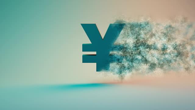yen or yuan symbol fading away, coronavirus covid-19 economic recession concept background - yen symbol stock videos & royalty-free footage