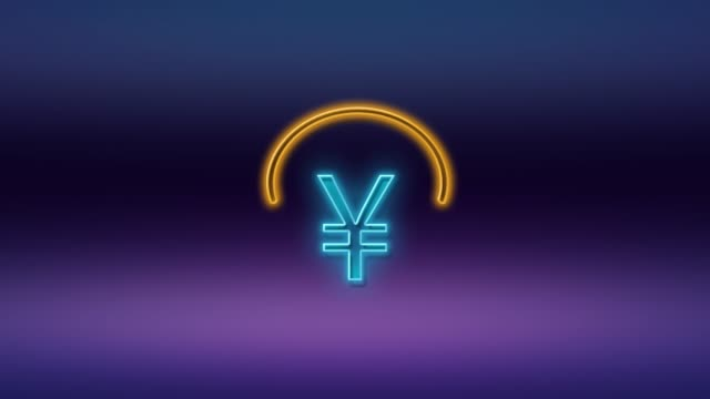 yen sign or yuan symbol written on neon light against purple and blue background in 4k resolution - currency symbol stock videos & royalty-free footage