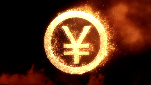 yen sign with fire - alpha channel - yen sign stock videos & royalty-free footage