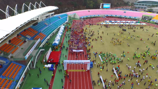 yeongju sobaek marathon at public stadium / yeongju-si, gyeongsangbuk-do, south korea - placard stock videos & royalty-free footage