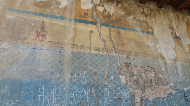 yerevan, erebuni castle, frescoes in temple of khaldi - scribble stock videos & royalty-free footage