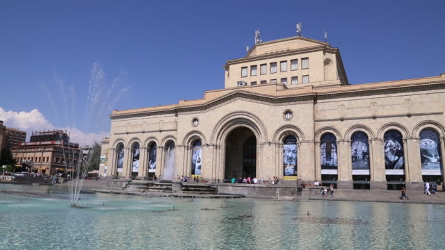 Yerevan, fountains in the Republic square, and the National gallery of Armenia in the background