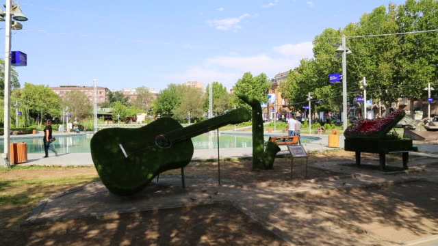 yerevan, lake and monuments in jerewan park - eastern european culture stock videos & royalty-free footage