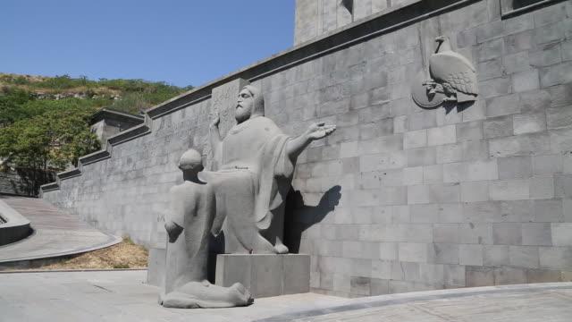 yerevan, mashtots statue at the matenadaran manuscript museum - eastern european culture stock videos and b-roll footage
