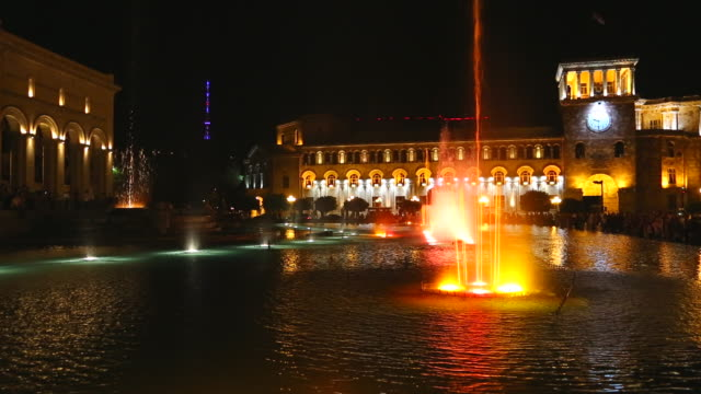 yerevan, night scene of the fountains in the republic square - fountain stock videos and b-roll footage