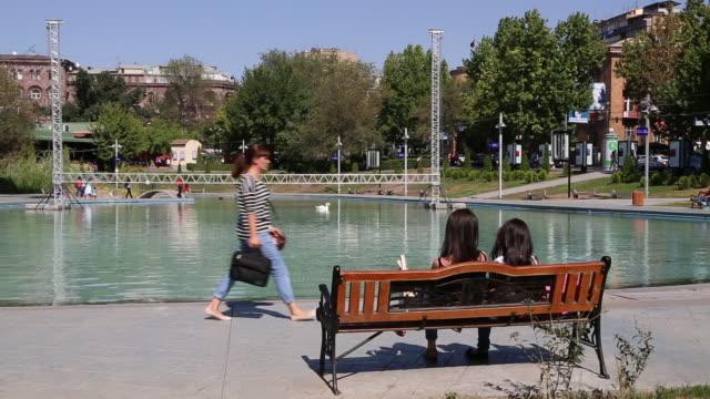 Yerevan, swan in the lake in Jerewan park