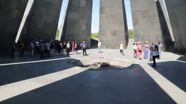 yerevan, tsitsernakaberd (armenain genocide) memorial to the victims of the armenian genocide - genocide stock videos & royalty-free footage
