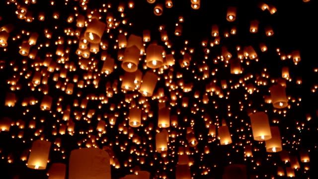 yi peng loi krathong chiang mai thailand - sky lantern stock videos and b-roll footage