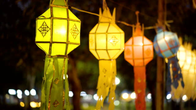 yi peng, traditional lamps in loi krathong festival. - chiang mai province stock videos & royalty-free footage
