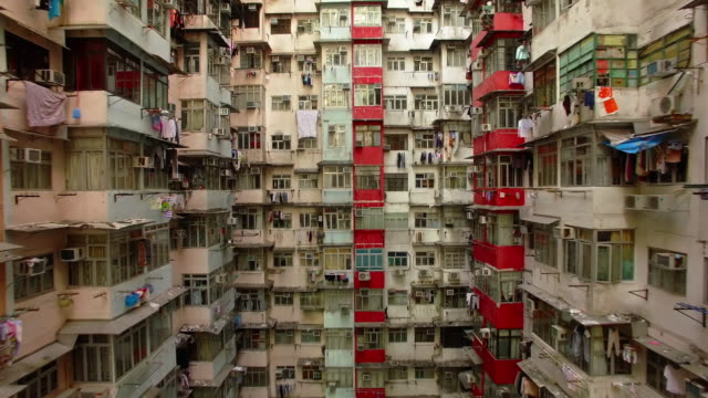 yick cheong buildings, quarry bay, hong kong by drone - council flat stock videos & royalty-free footage