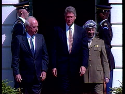 yitzhak rabin assassination us pool washington dc israeli pm yitzhak rabin arrives at white house and poses with arafat and clinton at peace... - assassination stock videos and b-roll footage