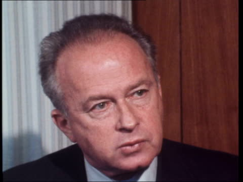 stockvideo's en b-roll-footage met yitzhak rabin interview israel palestine i can't see howexistence of israel ekta 16mm calvert 6 mins 225 ft nat final mag - yitzhak rabin