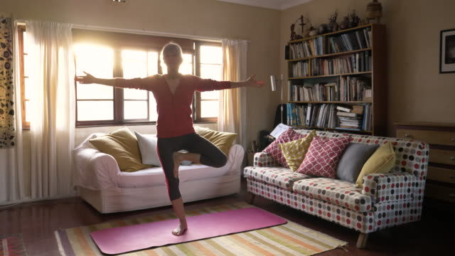 yoga at home - balance stock videos & royalty-free footage