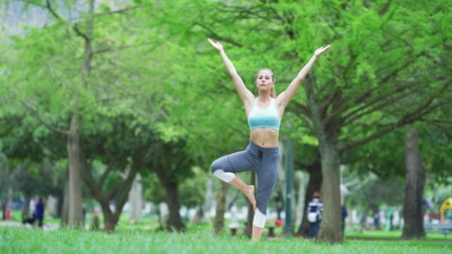 vídeos de stock, filmes e b-roll de yoga traz seu corpo de volta para uma boa saúde - pose de arvore