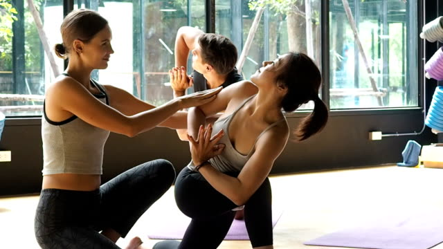 yoga calssroom concept.professionsal training teacher teaching group of people yoga - yoga studio stock videos & royalty-free footage