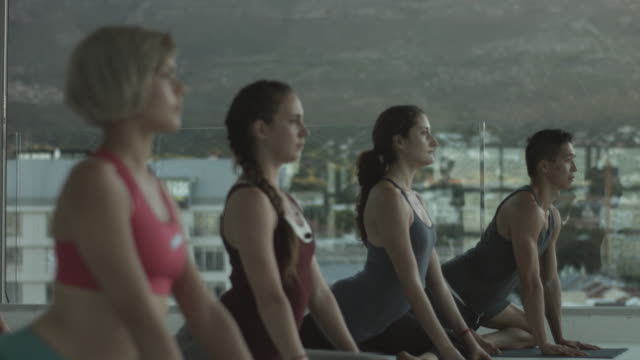 vídeos y material grabado en eventos de stock de yoga class doing stretching exercises, in rooftop studio - rack focus
