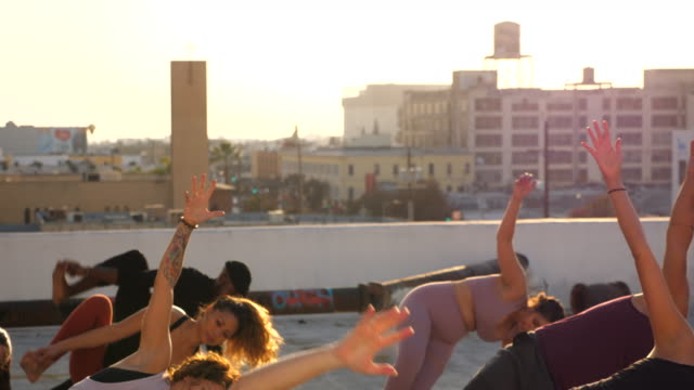 ms tu yoga class in side plank pose while practicing on rooftop at sunset - bodyweight training stock videos & royalty-free footage