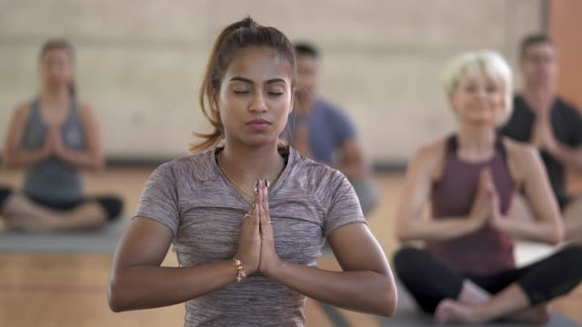 Yoga Class Prayer Pose