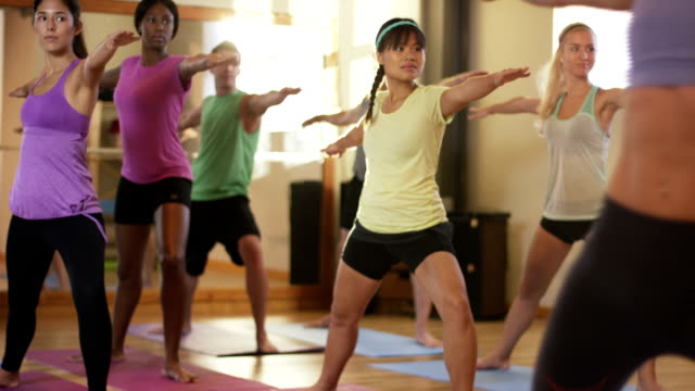 yoga fitness class - group of objects stock videos and b-roll footage