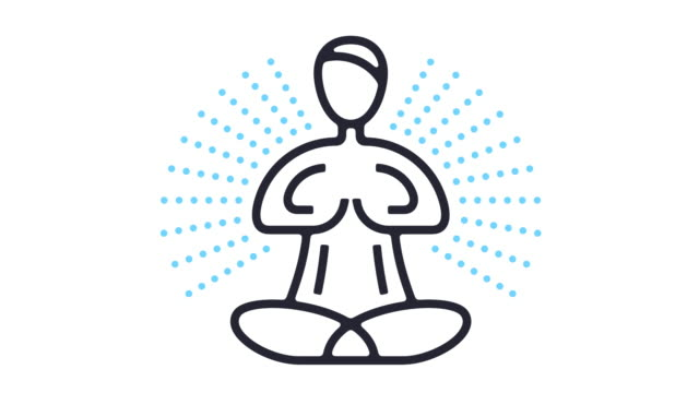 yoga icon animation - line art video stock e b–roll