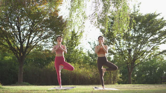 yoga in city - yoga instructor and young woman doing yoga while standing on yoga mat - instructor stock videos & royalty-free footage